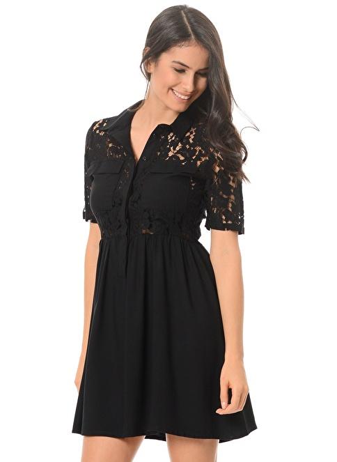 Vero Moda Dantelli Elbise Siyah